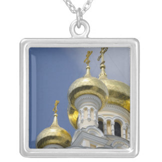 Exterior of Saint Alexander Nevsky Cathedral 3 Silver Plated Necklace