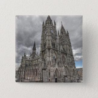 Exterior of the Basilica in Quito, Ecuador 15 Cm Square Badge