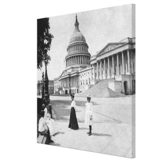 Exterior of the Capitol building with women Canvas Print