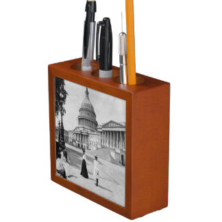 Exterior of the Capitol building with women Desk Organiser