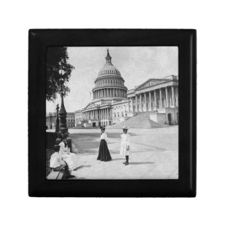 Exterior of the Capitol building with women Gift Box