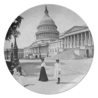 Exterior of the Capitol building with women Plate