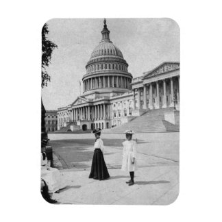Exterior of the Capitol building with women Magnet