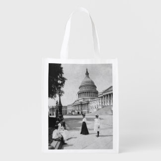 Exterior of the Capitol building with women Reusable Grocery Bag