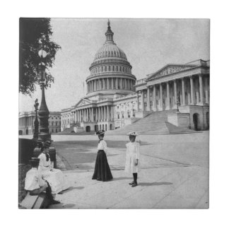 Exterior of the Capitol building with women Tile