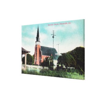 Exterior View of a Catholic Church Canvas Print