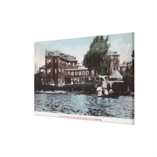 Exterior View of a Sanitarium on Bay Shore Canvas Print