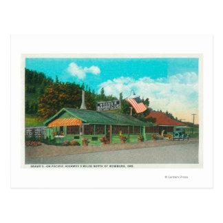 Exterior View of Brand's BBQ Restaurant Postcard