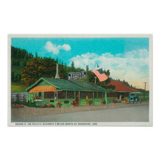 Exterior View of Brand's BBQ Restaurant Poster