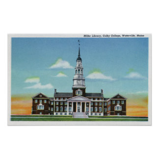 Exterior View of Colby College Miller Library Poster