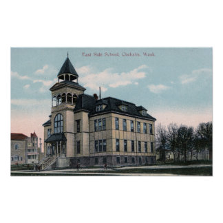 Exterior View of East Side School Bldg Poster