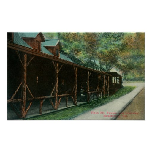 Exterior View of Fitch Mt. Tavern and Roadway Print