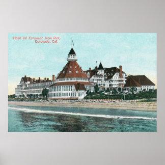 Exterior View of Hotel del Coronado from Pier Poster
