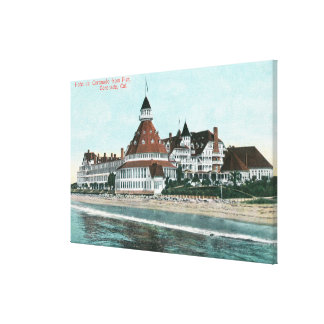 Exterior View of Hotel del Coronado from Pier Stretched Canvas Print