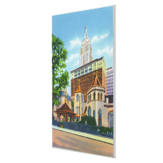 Exterior View of Little Church Around the Canvas Print