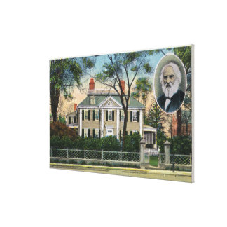 Exterior View of Longfellow's Home Stretched Canvas Print