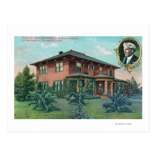 Exterior View of Luther Burbank's Residence Postcard