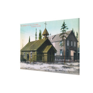 Exterior View of St. Mathew's Church and Stretched Canvas Prints