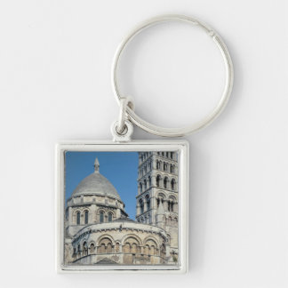 Exterior view of the chevet Silver-Colored square key ring