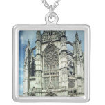 Exterior view of the south facade square pendant necklace