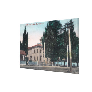 Exterior View of the West End School Stretched Canvas Print