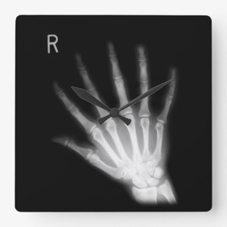 Extra Digit X-ray Right Hand Square Wall Clock