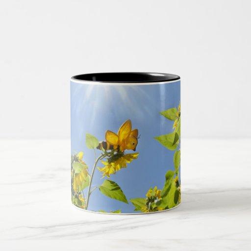 extra large bee on Sunflower Coffee Mugs