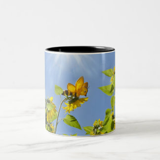 extra large bee on Sunflower Two-Tone Coffee Mug