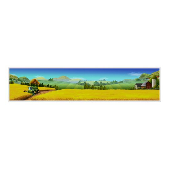 Extra Large Farm Scene Panoramic Art Poster