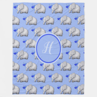 Extra Large Monogram Cute Baby Elephants Nursery Fleece Blanket