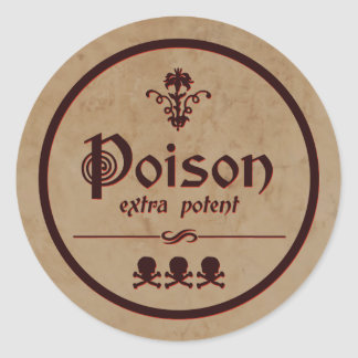 Extra Potent Poison   Halloween Label Round Sticker