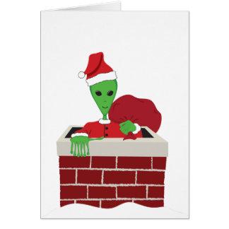 Extra-Terrestrial Santa Card