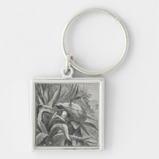 Extracting Pulque Silver-Colored Square Key Ring