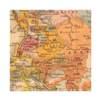 Extraordinary Antique Map Central Europe Canvas Print