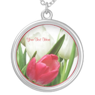 Extraordinary Red and White Tulips Necklace
