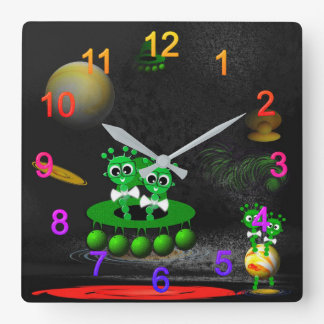 Extraterrestial one square wall clock