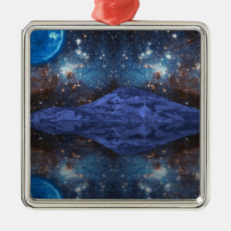 Extraterrestrial Fantasy Silver-Colored Square Decoration