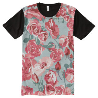 Extravagant blue Flower Pattern Design All-Over Print T-Shirt