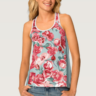 Extravagant blue Flower Pattern Design Tank Top