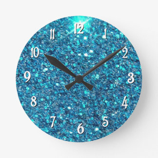 Extravagant Blue Glitter Shine Wall Clock