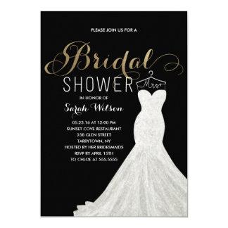 Extravagant Dress Gold Custom Color| Bridal Shower 13 Cm X 18 Cm Invitation Card