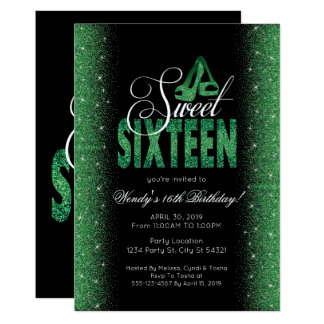 Extravagant Emerald Sweet 16 Party Invitations