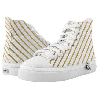Extravagant golden Stripes Design Printed Shoes