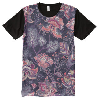 Extravagant purple and pink Flower Pattern All-Over Print T-Shirt