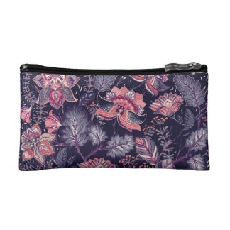 Extravagant purple and pink Flower Pattern Cosmetics Bags