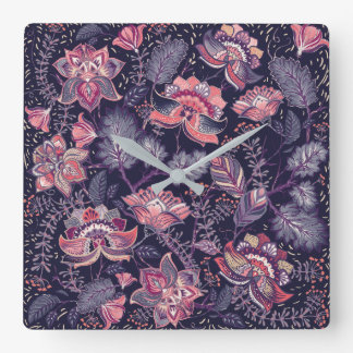 Extravagant purple and pink Flower Pattern Wallclock