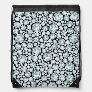 Extravagant white Diamond Pattern Drawstring Bags