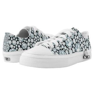 Extravagant white Diamond Pattern Printed Shoes