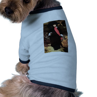 Extravagant young lady painting doggie tee shirt