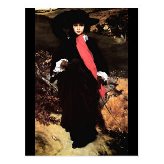 Extravagant young lady painting postcard